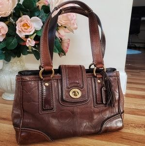🍁JUST IN! Coach Hamilton Leather Embossed Satchel